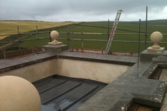 Lime render and new peir balls in Croyde, Devon